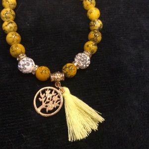 Jewelry - Gold bead crystal tree of life tassel bracelet